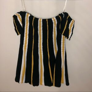 Pacsun Off The Shoulder Top Black Yellow Stripe